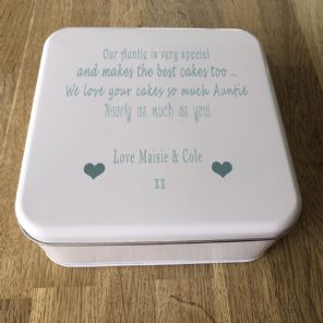 Shabby Personalised chic AUNTIE AUNTY AUNT Cake Biscuit Tin gift ANY NAME BAKING - 232937431387